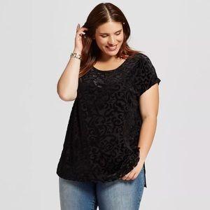 Ava & Viv Women's Black Velvet Tunic Top shirt